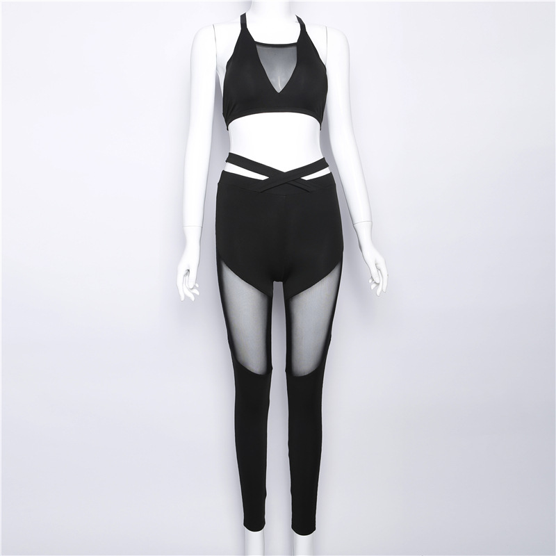 2017 Mesh Patchwork, 2 Pieces Hollow Women Clothing, Tracksuit Crop Top And Leggings 8