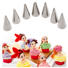 7 Pcs/set Craft Cream Flower Cake Decorating Kit Doll Skirt Shape Icing Piping Bag Pastry Nozzles Decorating Baking Tool
