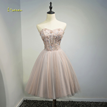 Loverxu Romantic Strapless Appliques Short Party Gown Lace Up Cocktail Dress 2017 Chic Beaded Formal Graduation Dress Plus Size(China)