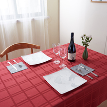 Oilproof Table Cloth Red Large Rectangle Checkered Dinner Tablecloth Polyester Table Linen Cover Cloth for Wedding Party Home(China)