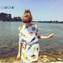 COLROVIE New Brand Hot Sale Summer Latest Design Women Clothing White Half Sleeve Birds Print Loose Glamorous Dress