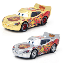 Disney Pixar Cars Gold Silver McQueen 1:55 Diecast Metal Alloy Model Car Toys Birthday Party Gift For Children Boys(China)