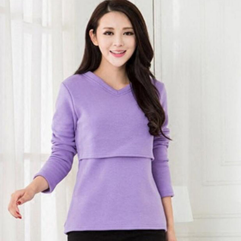 Thickened Maternity Nursing Tops Solid Pregnancy Breastfeeding Tees Shirt Clothes For Pregnant Women Wear Feedding Clothing 8