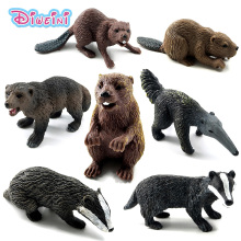 Zoo Simulation Badger Wolverine Anteater Beaver Bear plastic forest wild animals modeling toys figurine home decor Gift For Kids(China)
