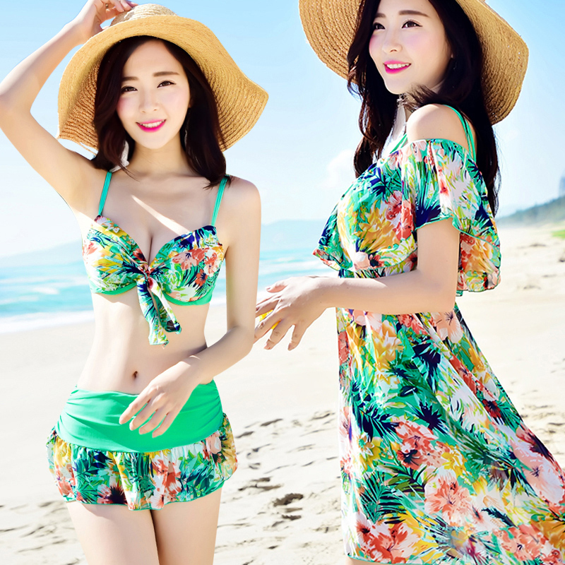 Beach Sports Swim Woman Bikini Three-piece Suit Skirt Style Swimsuit Female Sexy Small Chest Gather Together Hot Spring Swimwear<br>