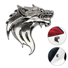 3D Metal Car Sticker Wolf Head Motorcycle Decal Windshield Emblem Badge Reflective Auto Decoration Badge Logo(China)