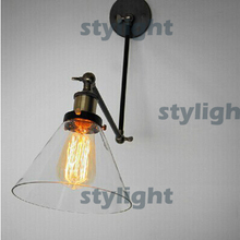 Loft industrial wall lamp designer lamp style restoring ancient ways glass folding beside bed cone bracket light study