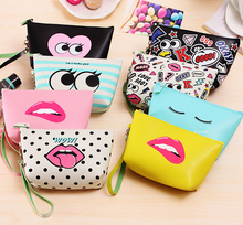 Creative PU Purse Carry Hand Bag Cosmetic Bag High-Capacity Waterproof Storage bag Clutch Coin Purse Factory Direct Sale