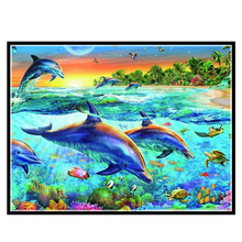 Embroidery,Diamond mosaic,DIY 5D Diamond painting,3D Diamond stitch,Diamond Embroidery Pattern Rhinestone dolphin Cross Stitch