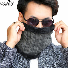 New Women Scarf Mink Warm Headband Women Winter Solid Chunky Cable Knit Wool Snood Infinity Neck Warmer Cowl Collar Circle Scarf(China)