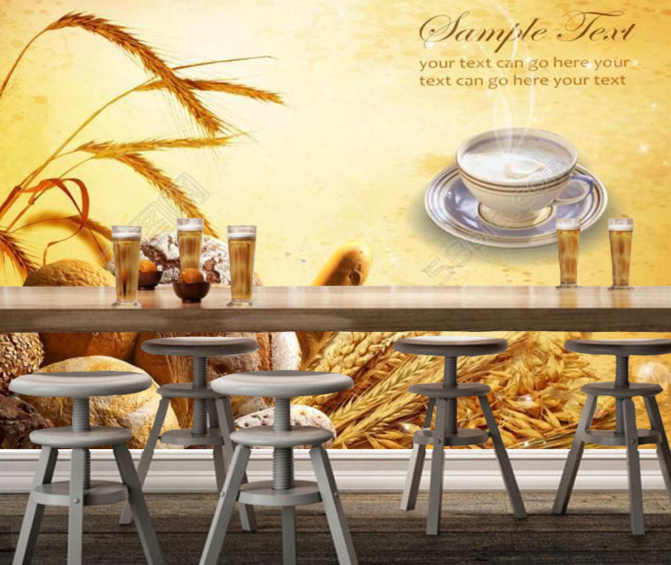 Bakery Wallpaper, Bread,3D Modern Mural for Restaurant Cafe Background wallpapers home decor papel de parede<br>
