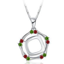 Bohemian Style Fashion Platinum Double Circle Colorful Diamond Necklace Alloy Girl Ornaments Woman Lady Gift
