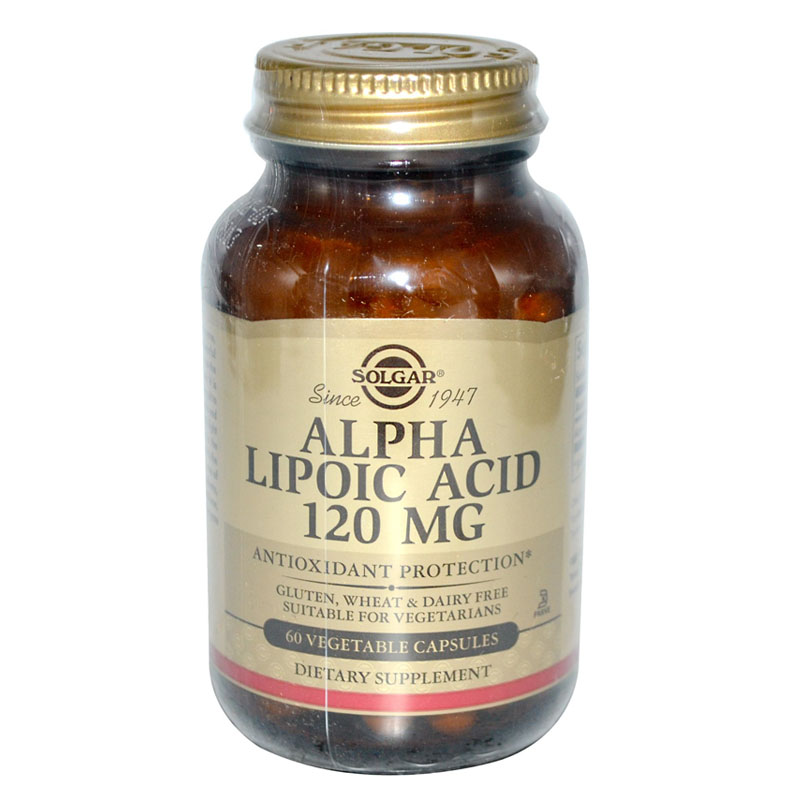 SOLGAR ALPHA LIPOIC Acid 120 mg Antioxidant protection 60 vegetable capsules<br>