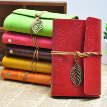 Korean Vintage Leaf Faux Leather Spiral Notebook&Journal A5 Diary Agenda 2017 Kraft Sketchbook For Travelers&School Stationery