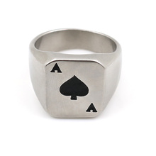 Vintage Chunky Stainless Steel Men Rings Poker Playing Card Design Spade A Lucky Ring Anel Masculino Men Jewelry Engrave