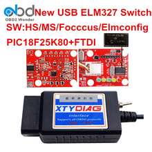 10 Pcs/Lot USB ELM327 OBDII Diagnostic Tool ELM 327 V1.5 Switch HS MS CAN BUS Interface For Ford Cars PIC18F25K80 Chip DHL Free