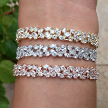new Fashion AAA cubic zirconia Baguette bracelet Micro Pave Setting bangle cuff copper base with Gold-Color