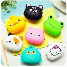 2017 New Fashion Lovely Kawaii Candy Color Cartoon Animal Women Girls Wallet Multicolor Jelly Silicone Coin Bag Purse Kid Gift(China)