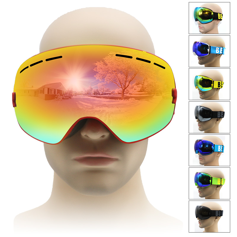 New brand ski goggles  big lens UV400 antifog ski mask glasses  men women snow  goggle snowboard goggles ski eyewear  adult<br><br>Aliexpress