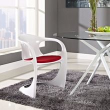 Minimalist Modern Design Plastic Dining Chair With Cushion Dining Furniture Padded Chairs Soft Seat Plastic Chair-1PC With Pad