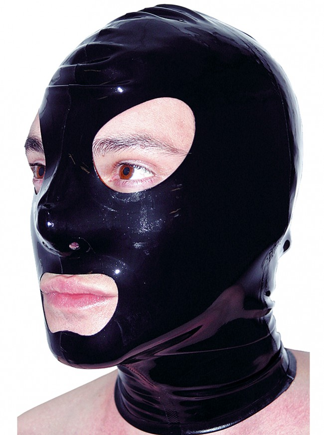 Unisex Latex Rubber Mask Hood Black Latex Rubber Hood Eyes, Nose Mouth Holes