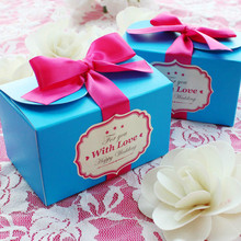 30pcs New European large blue Candy Boxes with rose red ribbon Wedding Favors Bomboniera Party Paper Gift Box Chocolate Box(China)