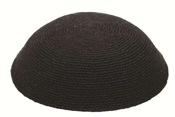 HIGH QUALITY HANDMADE BLACK KNITTED YARMULKE KIPPAH KIPPOT DIFFERENT SIZES title=