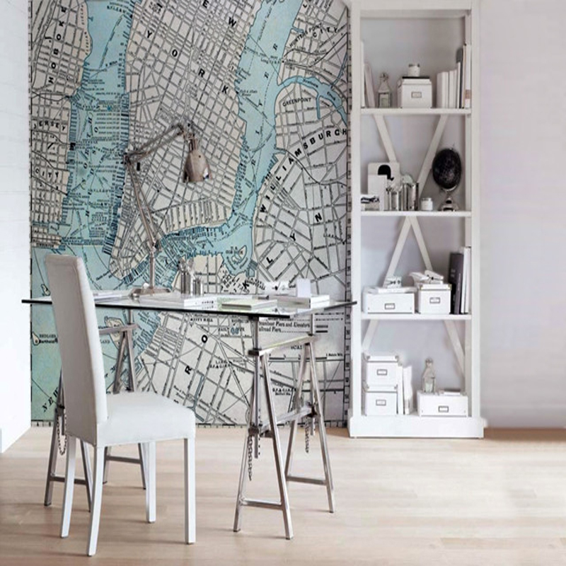 Retro photo wallpaper,1889 New York City Map,3D murals for kids rooms study rooms living room background PVC roll  wallpaper<br>