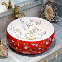 Flowers and birds Europe Vintage Style Countertop Basin Sink Handmade Ceramic Bathroom Vessel Sinks Vanities ceramic wash sinks(China)