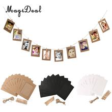 MagiDeal 10pcs DIY Photo Frame 6inch Hanging Album Clip Kraft Paper Frames Home Decor(China)