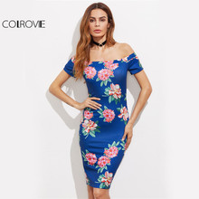 COLROVIE Bardot Neck Floral Summer Dress 2017 Blue Sexy Bodycon Women Club Midi Dresses Elegant Off Shoulder Jersey Party Dress