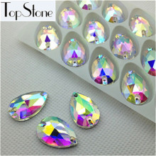 140pcs/box 10.5x18mm Teardrop Sew On rhinestone Crystal Clear AB Color 18x11 Pear Shape Sewing Glass Crystal Stones 2Holes