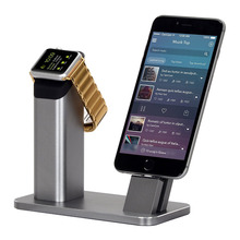 Fashion 2 in1 phone holder for iPhone 7 6 6S plus se Lightning Charging Dock for Apple watch 1 2 Aluminum Desktop Bracket Stand(China)