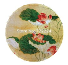 Free shipping Dia 84cm colorful lotus painting pictures chinese unique handmade cosplay parasol women gift oiled paper umbrella(China)
