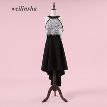 weilinsha New Arrival Halter Evening Dresses Contrast Color Tea Length A-line Lace Sexy Special Occasion Gowns Vestido de Festa(China)