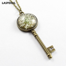 LASPERAL Vintage Key Shaped Dried Flowers Pendant Necklaces For Women Sky Star Link Chain Jewelry Necklace Fit Mother's Day Gift(China)