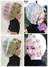 Fashion Embroidery Floral Muslim Hijab Islamic Arab Scarf Shalws Headwear Caps(China)