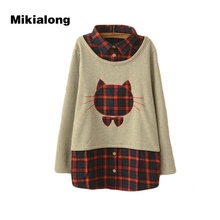 Mikialong 2017 Harajuku Kawaii Cat Hoodies Women Thicken Fleece Tumblr Sweatshirts Women Fashion Plaid Patchwork Poleron Mujer