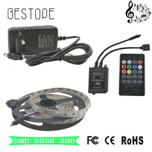 Music LED Strip 5M 5050 SMD RGB Strips LED Strip Light non Waterproof +Music Sound Sensor IR Controller 20keys +DC12V Adapter(China)