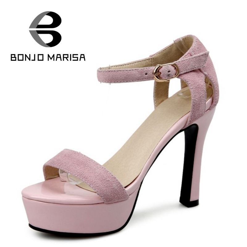 BONJOMARISA Big Size 32-44 Women Cow Buckle Leather Shoes Summer High Heels Open Toe Platform Sandals<br>