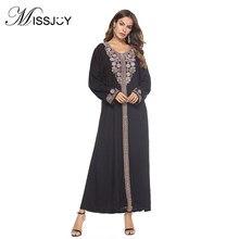 MISSJOY 2018 Autumn Fashion elegant Embroidered Dress vintage O-Neck Full  sleeve Middle Eastern Muslim Arabian maxi Dresses Robe ec837f011d42