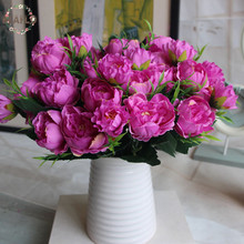 1PC European Spring Artificial Flower Fake Mini Peony Bouquet Wedding Arrangement Home Decoration 4 Colors(China)