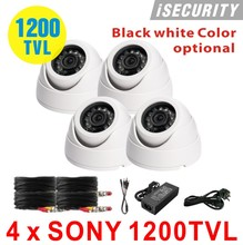 "New Security camera 1/3"" Sony CCD 1200TVL OSD, IR 20m outdoor waterproof CCTV dome camera with cables power for dvr system"
