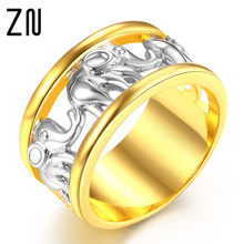 Antique Gold Color Lucky 3D Elephant Ring Romantic Zircon Ring For Man/Woman Jewelry Drop(China)