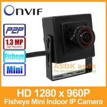 Fisheye HD 1280 x 960P 1.3MP IP Camera Indoor Mini Type Security Camera ONVIF P2P IP CCTV Cam