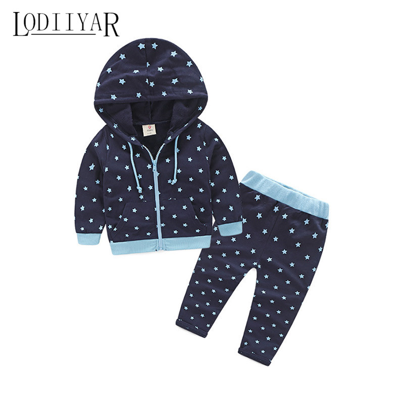 Hoodie + Pants, New Autumn Winter Printed Stars Zipper Children Warm Clothing Set, Baby Girls Thick Sports Coat <br><br>Aliexpress