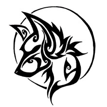 13.9*16CM Cute Wolf Tribal Pattern Vinyl Decorative Car Styling Decal Cool Car Stickers Black/Silver S1-2325