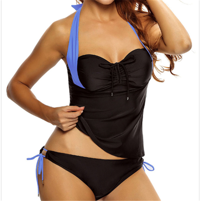 Solid Larage Bikini 2017 Mulheres Sexy Swimsuit Swimwear Women High Waist Sexy Plus Size Bathing Suits Top Halter Blue Bikinis<br><br>Aliexpress