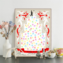 HAOCHU Wedding Celebration Love Cake Bride And Bridegroom Fingerprint Art Painting Guest Signature Tree Marriage Supplies