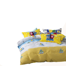 100% cotton yellow bedding set queen twin size,sailboat pattern printed duvet cover star bed sheet pillowcase,kids bedclothes